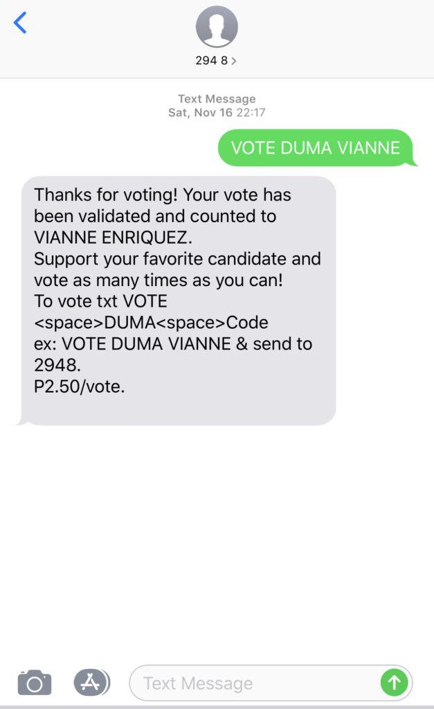ミス・ドゥマゲテはケータイから投票できる。