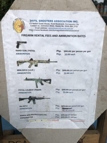 ドゥマゲッティの射撃場で色々な銃を撃てる