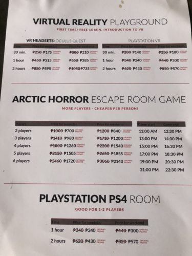 バーチャルリアリティ体験・VR脱出ゲーム・PS4ルームの料金表