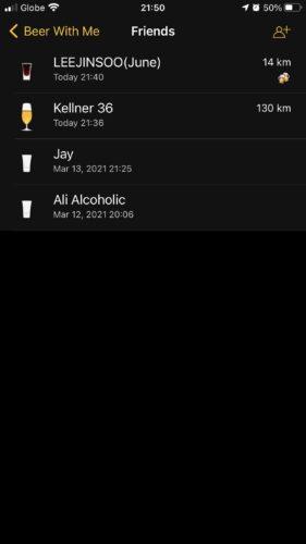 酒好きのためのSNSアプリでの友達リスト